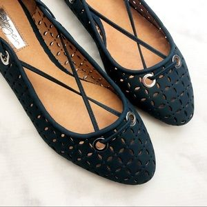 Halogen Shoes - Dark Blue Perforated Lasercut Lace Up Flats